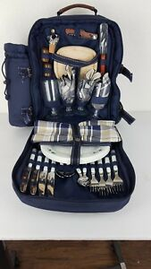Picnic At Ascot Picnic Wine & Cheese Backpack Outdoor Eating Ware Blue