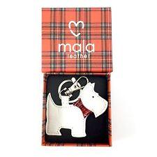 Leather BOXED Keyring White Scotty Scottie Westie Dog MALA LEATHER Ideal Gift