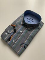 Harmont&Blaine Shirt Narrow Fit grey beige, blue, light green and green stripes