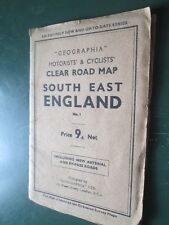 Geographia Motorist & Cyclists clear Road Map South East England Paper 1930's