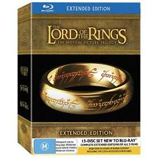 "LORD OF THE RINGS EXTENDED EDITION TRILOGY BOX SET 15 DISC BLU-RAY REG B ""NEW"""