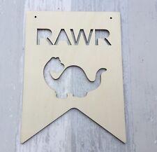 DINOSAUR RAWR - boho tribal unpainted laser cut quality wood large plaque