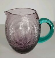 VINTAGE HAND BLOWN ART GLASS PURPLE/BLUE PITCHER, APPLIED HANDLE