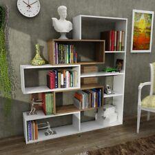 Bücherregal Aufbewahrungsregal Raumteiler Wandregal Regal Weiß Walnuss Marla
