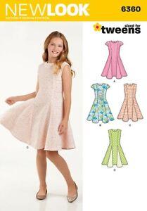 NEW LOOK Sewing Patterns~6360 TWEENS Girl Children Child Teens Dresses 8-16yrs