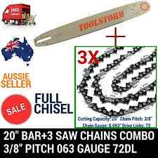 """20"""" BAR AND 3 CHAINS COMBO FOR STIHL CHAINSAW NEW 3/8 72DL .63"""" FULL CHISEL"""