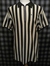 Vintage 50s Rayon Basketball Football Referee Jersey Athletic Stripe Shirt Xl
