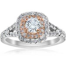 1ct Cushion Double Halo Diamond Engagement Ring 2-Tone 14k Rose Gold