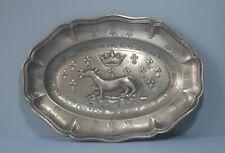 More details for antique french pewter platter  with hunting dog  + fleur de lys    11