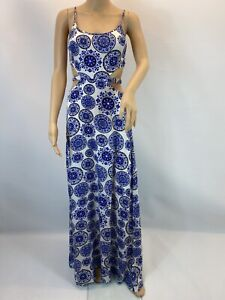 Missguided Maxi Dress Paisley Cut Out Boho  Elegant  Size 8 Eu 36