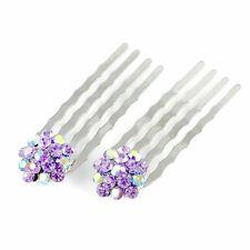 Mini Hair Comb Clip use Swarovski Crystal Hairpin Elegant Bridal AB Purple C20