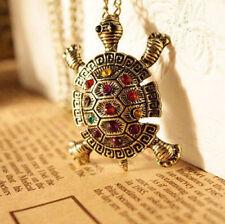 Vintage Turtle Necklace Pendant Bohemian Boho Chain Rhinestone Crystal A167