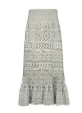 Laura Ashley Long Grey Antique Foil Lined Lace Skirt UK 12 Reduction