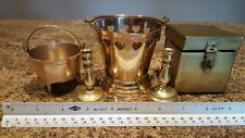 Vintage Lot of 5 Brass Decorative Items: Box/Candlesticks/3 Leg Pot/Heart Pail