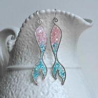 Unique Mermaid Tail Pendant Hook Earrings Women Jewelry Party Wedding Decor