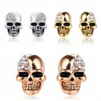 1Pair Jewelry Halloween Skeleton Earrings Rhinestones Skull Head Ear Stud