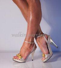 ITALIAN Designer Gold SATIN Shoes Size 5 Sparkle JEWEL GEMS Ankle Strappy Heels