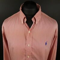 Polo Ralph Lauren Mens Shirt 2XL Long Sleeve Red Custom Fit Striped Cotton