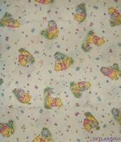 """FQ Vtg HTF OOP Winnie the Pooh Hunny Pot Ecru Ctn Fabric 18""""Lx22""""W"""