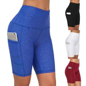 Damen Kurzhose Sporthose Yoga Gym Leggings Tasche Sportshorts Leggins Laufhose