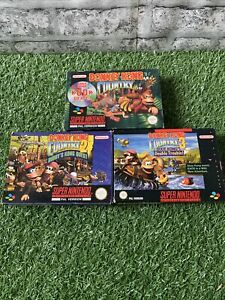 Donkey Kong Country Trilogy 1 2 & 3 SNES Games Boxed Bundle