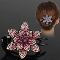 Vintage Lady Flower Hairpin Hair Clips Hair Claws Duckbill Rhinestone Headwear