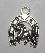 Horse and Horseshoe Charm or Pendant