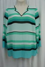 Michael Kors Top Sz XL Turquoise Blue Multi Striped Sheer Casual Tunic Blouse