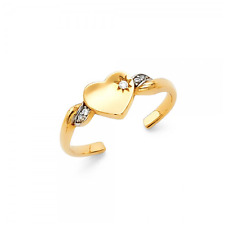 14K Solid Yellow White Gold CZ Heart Toe Ring Adjustable - Cubic Love Band Women