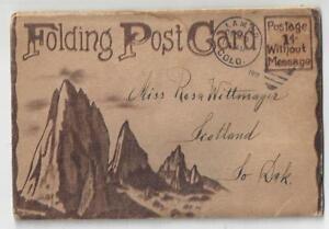 1910 SOUVENIR Folding Post Card GARDEN of the Gods COLORADO 22 Color VIEWS