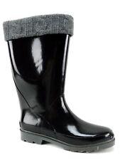 Sporto Women's Nova Sweater Rainboots Black & Gray Waterproof Size 9 M