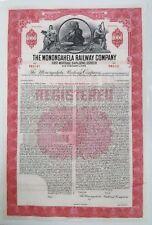 Monongahela Railway Company Bond Stock Certificate Pennsylvania