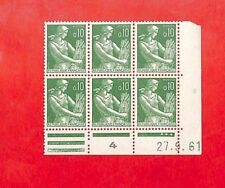 PHILATELIE 6 TIMBRES TYPE MOISSONNEUSE COINS DATES 1961