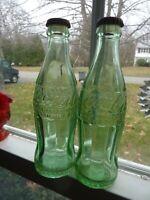 Coca-Cola 6 Oz (2) Green Bottles BOSTON WORCESTER Hobble Skirt Cork Seal (M0 E)