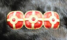 Vintage Ladies French Ruby Red Enamel CZ Rhinestone Gold Tone Barrette