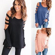 Damen Schulterfrei Langarm Bluse Oberteile Freizeit Hemd T-Shirt Pulli Pullover