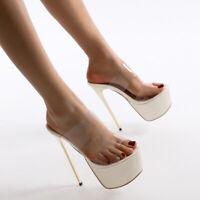 Super High Heels Women Clear Peep Toe Mules Slippers Sexy Platform Shoes sandals