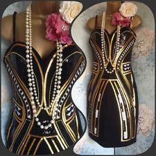 new H & M Black Gold Sequin Bandeau 20s Deco Flapper Gatsby Party Dress 10 38