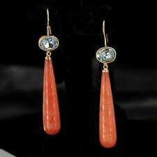 orecchini Dorato Ovale Cristallo Blu Goccia Lungo Quarzo Rosso Semplice QD3