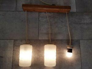 70er Jahre Hängelampe Kaskadenlampe Deckenlampe mit Glasschirmen Weiß DDR