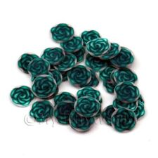 2x 50 fimo rose vert Nail Art Tranches de canne (ns73)