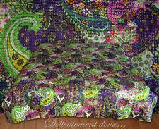 Très beau Couvre-lit indien 100% COTON vert et violet - CL11
