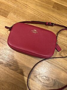 COACH RED CROSS BODY BAG NEW LEATHER Pouch Handbag Ladies LOW START MESSENGER