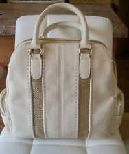 BIG BUDDAH HANDBAG/PURSE BEIGE W/WHEAT COLORED INSERTS -5 COMPARTMENTS