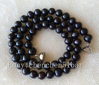 charm kultivierte 6-7mm schwarz Süßwasser Perlenkette 17 Zoll Magnetverschluss