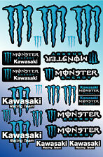 Monster ZX10R ZX6R Sponsor Blatt laminiert Aufkleber Moto Cross BLAU