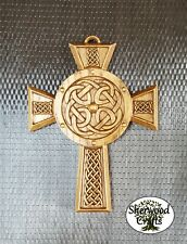 Solid Oak Carved Crafted Celtic Cross - Wall Hanging Plaque