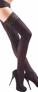 Opaque Hold Ups- Lace Top Hold Up Stockings Stay Ups Soft  Microfibre 40 Denier