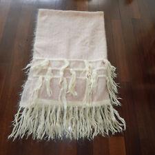 Vtg Jeannette Harvey Bart Mohair Blush Cream Metallic Tassel Blanket Throw 66x45