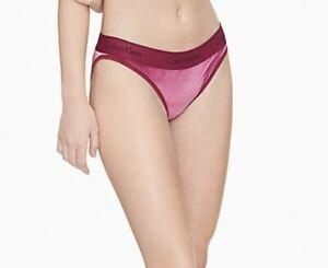 Calvin Klein Women's Modern Cotton Velvet Ribbed Bikini Panties, Wine , X-Large